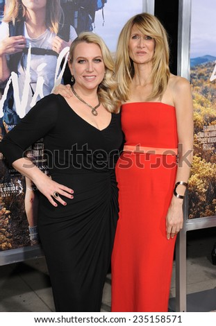 """LOS ANGELES - NOV 19:  Cheryl Strayed & Laura Dern arrives to the """"Wild"""" Los Angeles Premiere on November 19, 2014 in Beverly Hills, CA                 - stock photo"""