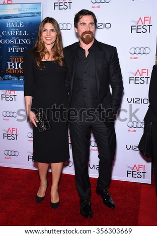LOS ANGELES - NOV 12:  Christian Bale & Sibi Bale arrives to the AFI Fest 2015 Closing Gala 'The Big Short' World Premiere  on November 12, 2015 in Hollywood, CA.                 - stock photo