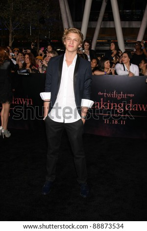 "LOS ANGELES - NOV 14:  Cody Simpson arrives at the ""Twilight: Breaking Dawn Part 1"" World Premiere at Nokia Theater at LA LIve on November 14, 2011 in Los Angeles, CA - stock photo"