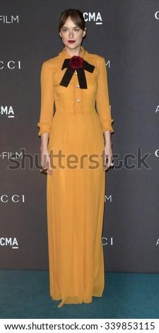 LOS ANGELES - NOV 7:  Dakota Johnson at the LACMA Art + Film Gala at the  LACMA on November 7, 2015 in Los Angeles, CA - stock photo