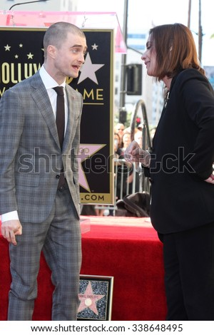 LOS ANGELES - NOV 12:  Daniel Radcliffe, Ana Martinez at the Daniel Radcliffe Hollywood Walk of Fame Ceremony at the Hollywood Walk of Fame on November 12, 2015 in Los Angeles, CA - stock photo