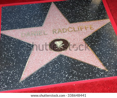 LOS ANGELES - NOV 12:  Daniel Radcliffe's Star at the Daniel Radcliffe Hollywood Walk of Fame Ceremony at the Hollywood Walk of Fame on November 12, 2015 in Los Angeles, CA - stock photo
