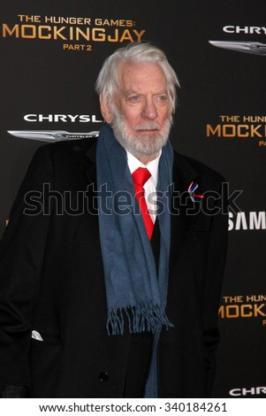"LOS ANGELES - NOV 16:  Donald Sutherland at the ""The Hunger Games -Mockingjay Part 2"" LA Premiere at the Microsoft Theater on November 16, 2015 in Los Angeles, CA - stock photo"