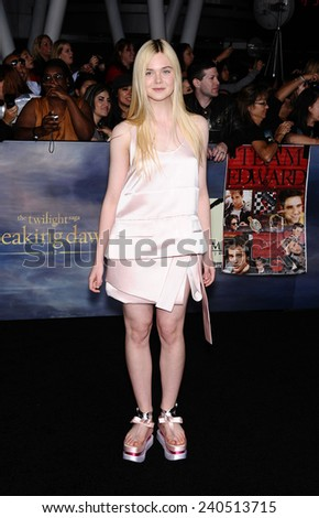 "LOS ANGELES - NOV 11:  Elle Fanning arrives to the ""The Twilight Saga: Breaking Dawn-Part 2"" World Premiere  on November 11, 2012 in Los Angeles, CA                 - stock photo"