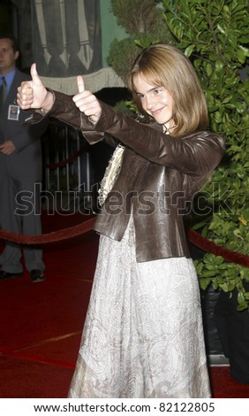 LOS ANGELES - NOV 16: Emma Watson at the 'Harry Potter and the Chamber of Secrets' Premiere at Mann Village Theatre on November 16, 2002 in Los Angeles, California - stock photo