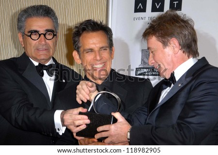 LOS ANGELES - NOV 15: Eugene Levy, Ben Stiller, Martin Short in the press room of the 26th American Cinematheque Award iho Ben Stiller at Beverly Hilton Hotel on November 15, 2012 in Beverly Hills, CA - stock photo