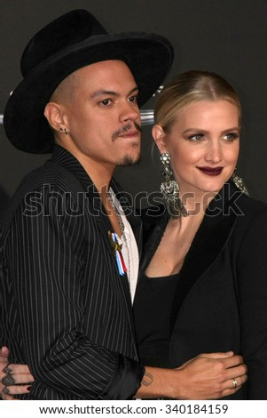 "LOS ANGELES - NOV 16:  Evan Ross, Ashlee Simpson at the ""The Hunger Games -Mockingjay Part 2"" LA Premiere at the Microsoft Theater on November 16, 2015 in Los Angeles, CA"