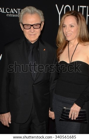 """LOS ANGELES - NOV 17:  Harvey Keitel, Daphna Kastner at the """"Youth"""" LA Premiere at the Directors Guild of America Theater on November 17, 2015 in Los Angeles, CA - stock photo"""