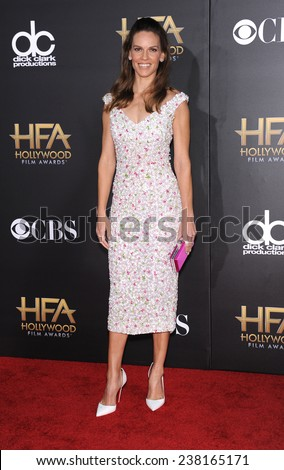 LOS ANGELES - NOV 14:  Hilary Swank arrives to the The Hollywood Film Awards 2014 on November 14, 2014 in Hollywood, CA                 - stock photo