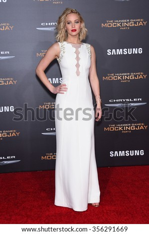 """LOS ANGELES - NOV 16:  Jennifer Lawrence arrives to the """"The Hunger Games: Mocking Jay - Part 2"""" Los Angeles Premiere  on November 16, 2015 in Los Angeles, CA.                 - stock photo"""