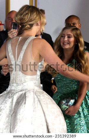 LOS ANGELES - NOV 17:  Jennifer Lawrence, Willow Shields at the The Hunger Games: Mockingjay Part 1 Premiere at the Nokia Theater on November 17, 2014 in Los Angeles, CA - stock photo