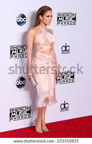 LOS ANGELES - NOV 23:  Jennifer Lopez at the 2014 American Music Awards - Arrivals at the Nokia Theater on November 23, 2014 in Los Angeles, CA - stock photo