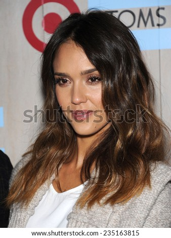 LOS ANGELES - NOV 12:  Jessica Alba arrives to the TOMS for Target Partnership Celebration on November 12, 2014 in Culver City, CA                 - stock photo