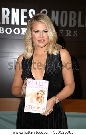 "LOS ANGELES - NOV 9:  Khloe Kardashian at the Booksigning of Khloe Kardashian's book ""Strong Looks Better Naked"" at the Barnes and Noble on November 9, 2015 in Los Angeles, CA - stock photo"