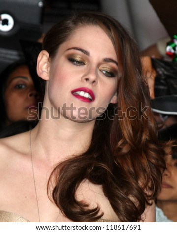 "LOS ANGELES - NOV 12:  Kristen Stewart arrives to the 'The Twilight Saga: Breaking Dawn - Part 2"" Premiere at Nokia Theater on November 12, 2012 in Los Angeles, CA - stock photo"