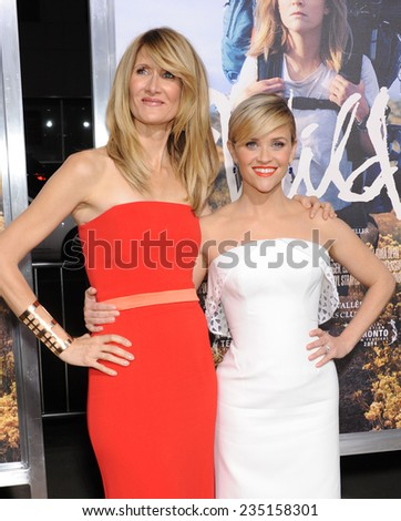 """LOS ANGELES - NOV 19:  Laura Dern & Reese Witherspoon arrives to the """"Wild"""" Los Angeles Premiere on November 19, 2014 in Beverly Hills, CA                 - stock photo"""