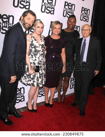 LOS ANGELES - NOV 11:  Lena Dunham, Judd Apatow, Amy Poehler, Aisha Tyler, Norman Lear at the PEN Center Literary Awards at the Beverly Wilshire Hotel on November 11, 2014 in Beverly Hills, CA - stock photo