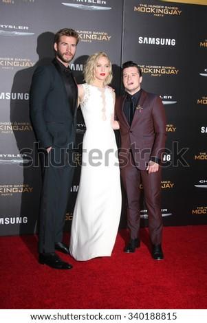 "LOS ANGELES - NOV 16:  Liam Hemsworth, Jennifer Lawrence, Josh Hutcherson at the ""The Hunger Games -Mockingjay Part 2"" LA Premiere at the Microsoft Theater on November 16, 2015 in Los Angeles, CA - stock photo"