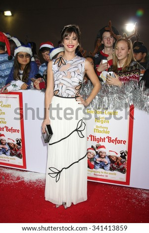 "LOS ANGELES - NOV 17:  Lizzy Caplan at the ""The Night Before"" LA Premiere at the The Theatre at The ACE Hotel on November 17, 2015 in Los Angeles, CA - stock photo"