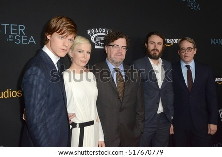 "LOS ANGELES - NOV 14: Lucas Hedges, Michelle Williams, Kenneth Lonergan, Caey Affleck, Matthew Broderick at the ""Manchester By The Sea"" at the Goldwyn Theater on November 14, 2016 in Beverly Hills, CA"
