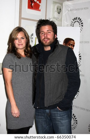 """LOS ANGELES - NOV 29:  Maggie Lawson, James Roday arrive at """"Psych:  A Twin Peaks Gathering"""" at Paley Center for Media on November 29, 2010 in Beverly Hills, CA - stock photo"""