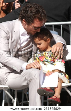 LOS ANGELES - NOV 17:  Matthew McConaughey, Vida Alves McConaughey at the Matthew McConaughey Hollywood Walk of Fame Star Ceremony at the Hollywood & Highland on November 17, 2014 in Los Angeles, CA - stock photo