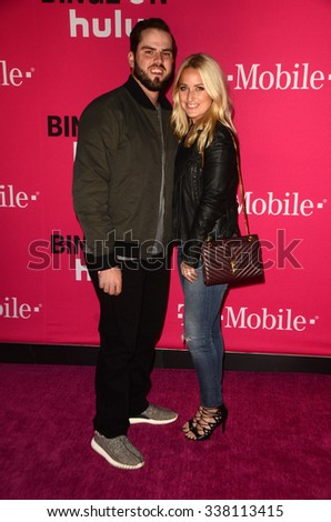 LOS ANGELES - NOV 10:  Mike Moustakas at the T-Mobile Un-carrier X Launch Celebration at the Shrine Auditorium on November 10, 2015 in Los Angeles, CA - stock photo