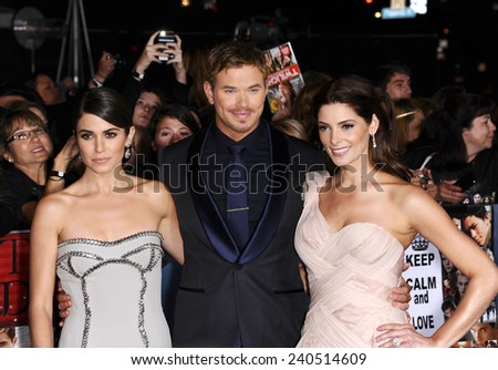 "LOS ANGELES - NOV 11:  Nikki Reed, Kellan Lutz & Ashley Greene arrives to the ""The Twilight Saga: Breaking Dawn-Part 2"" World Premiere  on November 11, 2012 in Los Angeles, CA                 - stock photo"