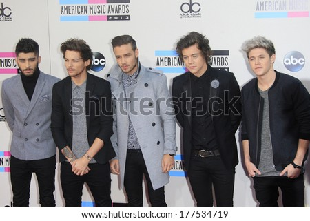 LOS ANGELES - NOV 24: One Direction at the 2013 American Music Awards at Nokia Theater L.A. Live on November 24, 2013 in Los Angeles, California - stock photo