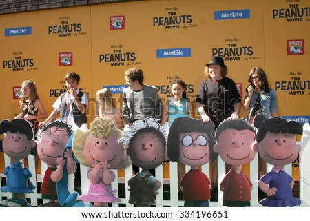 "LOS ANGELES - NOV 1:  Peanuts Voice Actors at the ""The Peanuts Movie"" Los Angeles Premiere at the Village Theater on November 1, 2015 in Westwood, CA - stock photo"