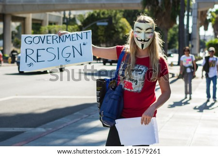LOS ANGELES - NOV 02: Protester rallied in the streets against corruption on November 02, 2013 in Los Angeles, California - stock photo