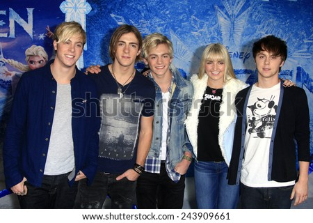 LOS ANGELES - NOV 19: R5 at the premiere of Walt Disney Animation Studios' 'Frozen' at the El Capitan Theater on November 19, 2013 in Los Angeles, CA - stock photo