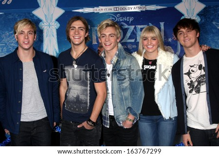 "LOS ANGELES - NOV 19:  R5, including Ross Lynch at the ""Frozen"" World Premiere at El Capitan Theater on November 19, 2013 in Los Angeles, CA"