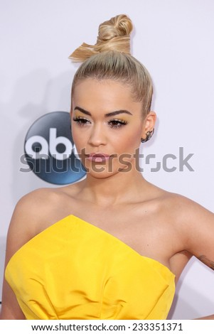 LOS ANGELES - NOV 23:  Rita Ora at the 2014 American Music Awards - Arrivals at the Nokia Theater on November 23, 2014 in Los Angeles, CA - stock photo
