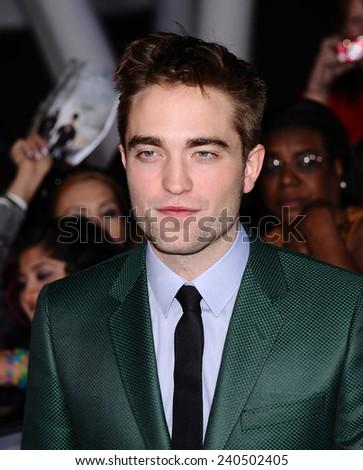 "LOS ANGELES - NOV 11:  Robert Pattinson arrives to the ""The Twilight Saga: Breaking Dawn-Part 2"" World Premiere  on November 11, 2012 in Los Angeles, CA                 - stock photo"
