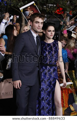 LOS ANGELES - NOV 14: Robert Pattinson, Kristen Stewart at the World Premiere of 'The Twilight Saga: Breaking Dawn Part 1' held at Nokia Theater L.A. Live on November 14, 2011 in Los Angeles, CA - stock photo