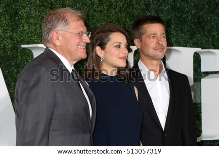 "LOS ANGELES - NOV 9:  Robert Zemeckis, Marion Cotillard, Brad Pitt at the ""Allied"" Fan Screening at the Village Theater on November 9, 2016 in Westwood, CA"