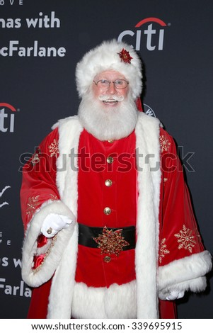 LOS ANGELES - NOV 14:  Santa Claus at the The Grove Christmas with Seth MacFarlane 2015 at the The Grove on November 14, 2015 in Los Angeles, CA - stock photo