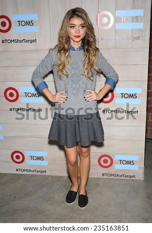 LOS ANGELES - NOV 12:  Sarah Hyland arrives to the TOMS for Target Partnership Celebration on November 12, 2014 in Culver City, CA                 - stock photo