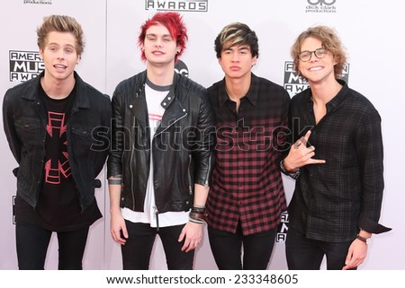 LOS ANGELES - NOV 23:  5 Seconds of Summer at the 2014 American Music Awards - Arrivals at the Nokia Theater on November 23, 2014 in Los Angeles, CA - stock photo