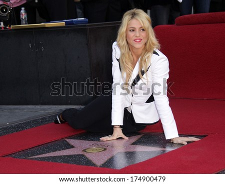 LOS ANGELES - NOV 08:  Shakira arrives to the Walk of Fame Ceremony for Shakira  on November 08, 2011 in Hollywood, CA                 - stock photo