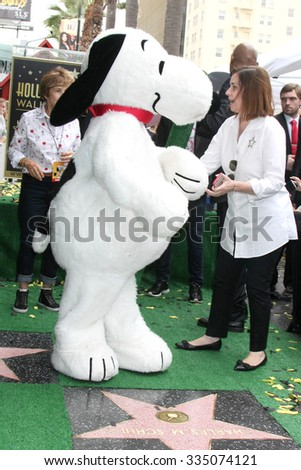 LOS ANGELES - NOV 2:  Snoopy, Ana Martinez at the Snoopy Hollywood Walk of Fame Ceremony at the Hollywood Walk of Fame on November 2, 2015 in Los Angeles, CA - stock photo