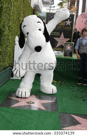 LOS ANGELES - NOV 2:  Snoopy at the Snoopy Hollywood Walk of Fame Ceremony at the Hollywood Walk of Fame on November 2, 2015 in Los Angeles, CA - stock photo