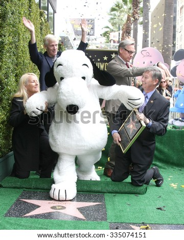 LOS ANGELES - NOV 2:  Snoopy, Chamber officials, Paul Feig, Craig Schultz at the Snoopy Hollywood Walk of Fame Ceremony at the Hollywood Walk of Fame on November 2, 2015 in Los Angeles, CA - stock photo