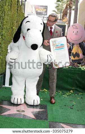 LOS ANGELES - NOV 2:  Snoopy, Paul Feig at the Snoopy Hollywood Walk of Fame Ceremony at the Hollywood Walk of Fame on November 2, 2015 in Los Angeles, CA - stock photo