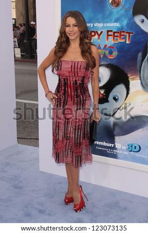 "LOS ANGELES - NOV 12:  SOFIA VERGARA arriving to ""Happy Feet 2"" World Premiere  on November 12, 2011 in Hollywood, CA - stock photo"