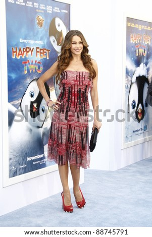 LOS ANGELES - NOV 13: Sofia Vergara at the World Premiere of  'Happy Feet Two' at Grauman's Chinese Theater on November 13, 2011  in Los Angeles, California - stock photo