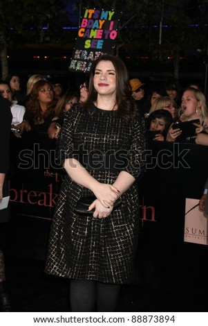 "LOS ANGELES - NOV 14:  Stephanie Meyer arrives at the ""Twilight: Breaking Dawn Part 1"" World Premiere at Nokia Theater at LA LIve on November 14, 2011 in Los Angeles, CA - stock photo"