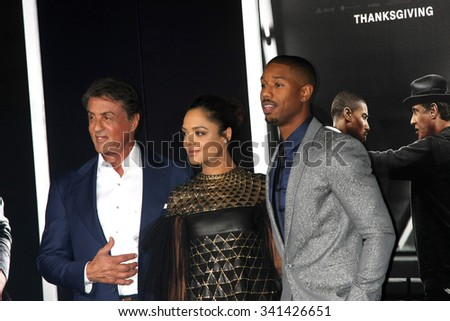 """LOS ANGELES - NOV 19:  Sylvester Stallone, Tessa Thompson, Michael B. Jordan at the """"Creed"""" Los Angeles Premiere at the Village Theater on November 19, 2015 in Westwood, CA - stock photo"""