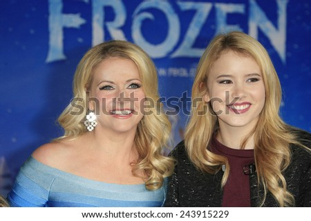 LOS ANGELES - NOV 19: Taylor Spreitler, Melissa Joan Hart at the premiere of Walt Disney Animation Studios' 'Frozen' at the El Capitan Theater on November 19, 2013 in Los Angeles, CA - stock photo